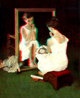 """Girl at Mirror"" by Norman Rockwell in 3D"
