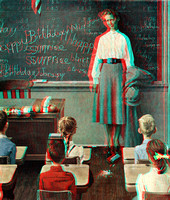 """Happy Birthday, Miss Jones"" by Norman Rockwell in 3D"