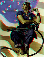 """Rosie the Riveter"" by Norman Rockwell in 3D"