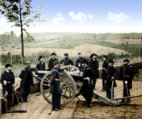 03384 - Gen. William T. Sherman, leaning on breach of gun, and staff at Federal Fort No. 7, Atlanta, Ga.