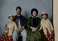36454- Unidentified African American soldier in Union uniform with family