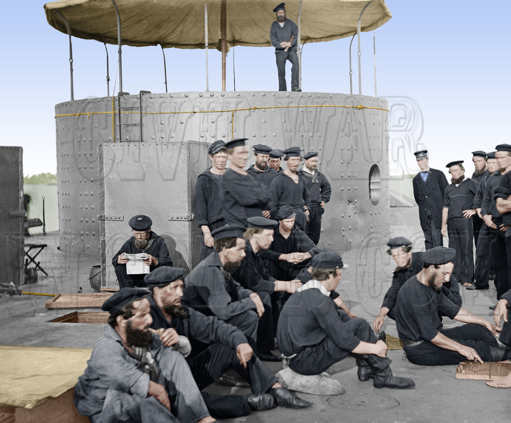 01062 - U.S.S. Monitor; Sailors relaxing on deck, July 9, 1862 [LC-DIG-cwpb-01062]
