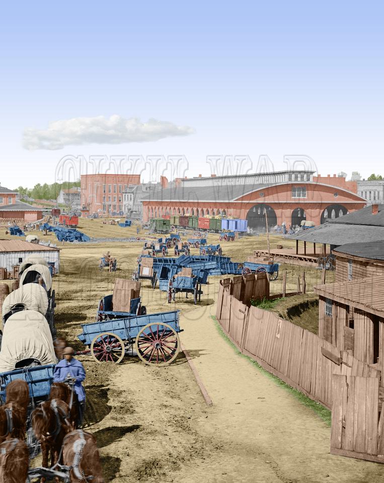 History In Full Color: Trains, Planes, Auto, Ships &emdash; 02220 - Railroad Depot; A Nearer View; Atlanta, Ga; November 1864 (LC-DIG-cwpb-02220)