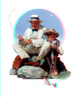 """Catching the Big One"" by Norman Rockwell in 3D"