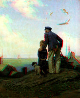 "3D, ""American artist"", ""Norman Rockwell"", Rockwell, ""Saturday Evening Post"", brig, grandfather, illustration, longing, nostalgia, sailing, seaside, ship"