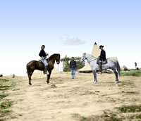 04041 - Capt. George A. Custer and Gen. Alfred Pleasonton on horseback