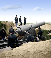 Battery Chatfield Morris Island with gun pointed at Fort Sumter - 03156