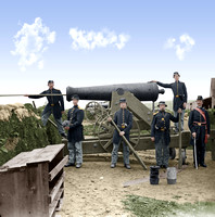 01549 - Soldiers of 4th New York heavy Artillery loading 24-pdr. siege gun on wooden barbette (Ingalls Battery? Fort Corcoran) 1862, Arlington, Virginia