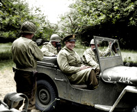 #34 Eisenhower in jeep in Normandy orchard
