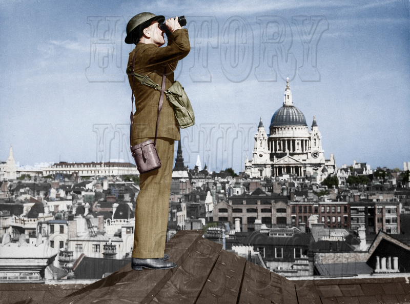 History In Full Color: Military &emdash; 541899 - Aircraft spotter on the roof of a building in London. St. Paul's Cathedral is in the background, 1940