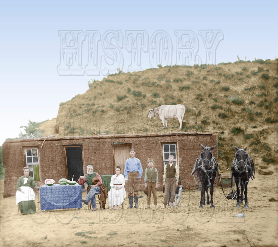 History In Full Color: Additional Colorized Images &emdash; 10600 - Sod House, Custer County NE