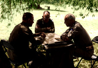Left to right -  Major General Troy H. Middleton, commander of the 45th Division; Major General Omar N. Bradley; and Patton, in a Sicilian olive grove, July 25, 1943 - cropped.