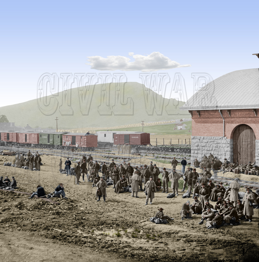 History In Full Color: Trains, Planes, Auto, Ships &emdash; 02114 - Confederate prisoners; waiting at Chattanooga to be sent north, 1864 [LC-DIG-cwpb-02114]
