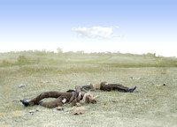 01090 - Confederate soldiers as they fell near the Burnside bridge,  Antietam, MD