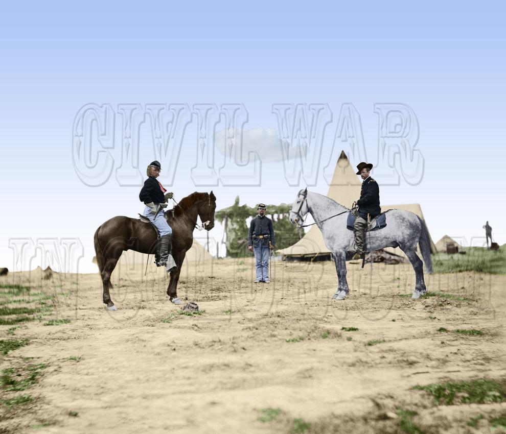 04041 - Capt. George A. Custer and Gen. Alfred Pleasonton on horseback