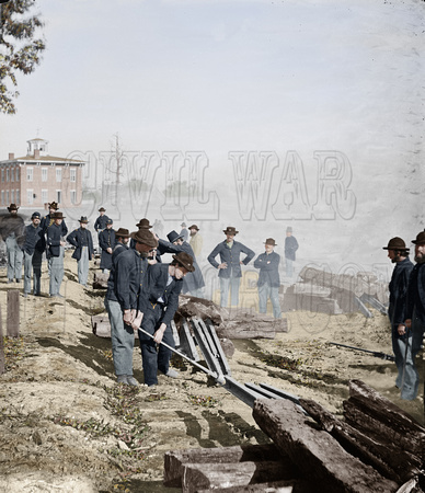 03391 - Sherman's men destroying railroad, Atlanta, Georgia, 1864