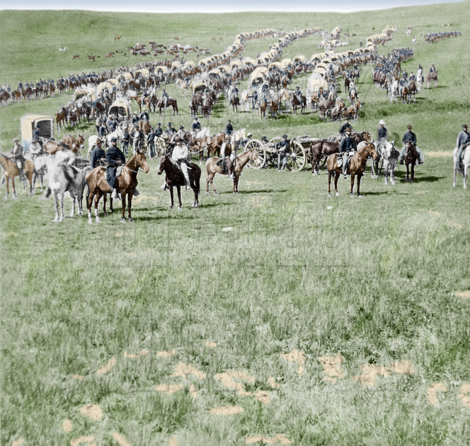 History In Full Color: Additional Colorized Images &emdash; 519427 - Column of cavalry, artillery, and wagons, commanded by Gen. George A. Custer, crossing the plains of Dakota Territory