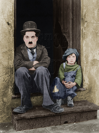 Charlie Chaplin. Tramp, the little tramp, the kid, Jackie Coogan
