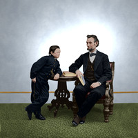"President Lincoln and son ""Tad"""