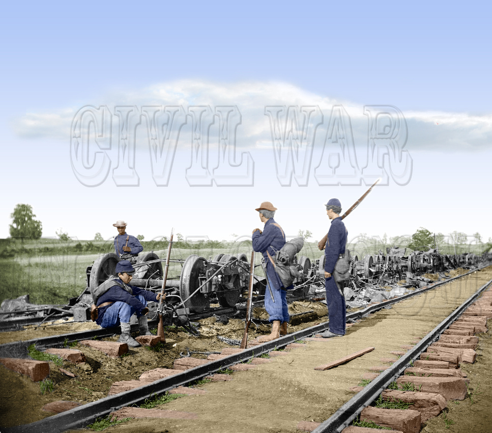 History In Full Color: Trains, Planes, Auto, Ships &emdash; 00260 - Resting after 2nd Bull Run; Manassas Junction, Va; August 1862 [LC-DIG-cwpb-00260]