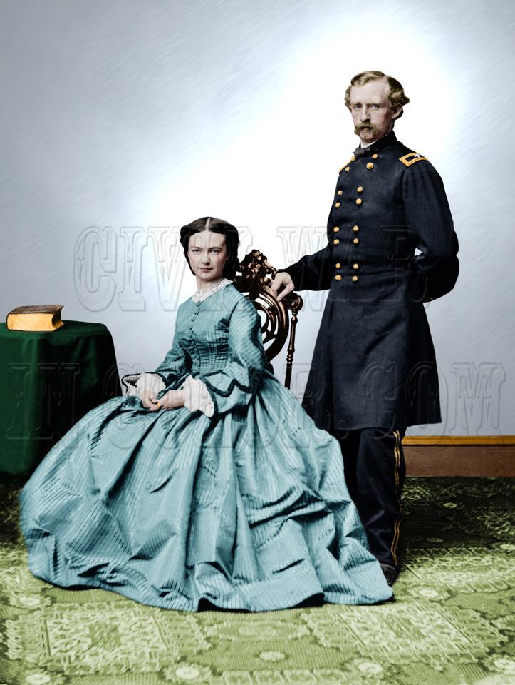 History In Full Color: Women &emdash; 03129 - Brigadier General Geo. Custer; and Mrs. Libbie Custer [LC-DIG-cwpbh-03129]