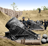 01001 - Battery No. 4; Yorktown, VA; 13 inch mortars weighing 20,000 Lbs. May 1862 [LC-DIG-cwpb-01001]