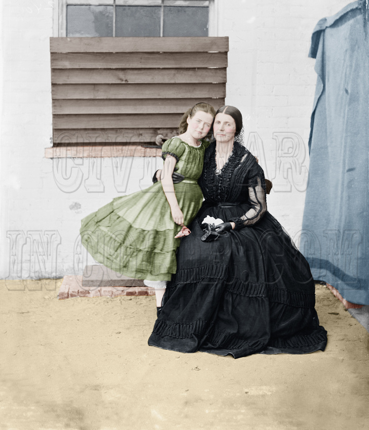 "History In Full Color: Women &emdash; Rose O""Neal Greenhow - Confederate Spy, with Daughter ""Little Rose"", at the Old Capitol Prison, Washington, D.C., 1862 -04849"