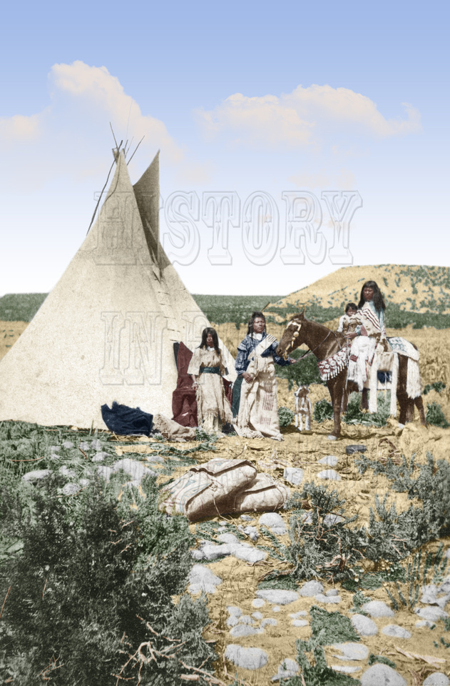 "History In Full Color: Additional Colorized Images &emdash; 1s01641 - Sai-ar""s home, Ute Indian Teepee"
