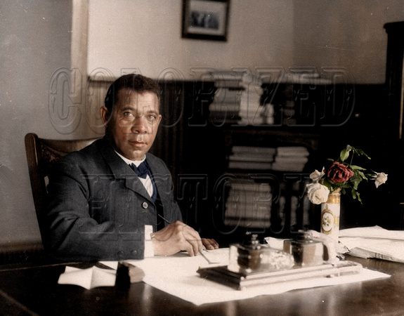 Booker T. Washington in his Tuskegee University Office