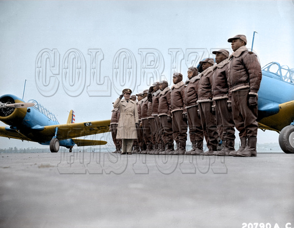 Major James A. Ellison reviewing the first class of Tuskegee Recruits, Alabama '41 - BT13 trainer planes