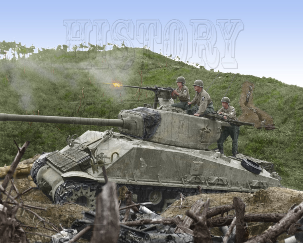 History In Full Color: Military &emdash; I10021 - Sherman Tank firing 50 Cal